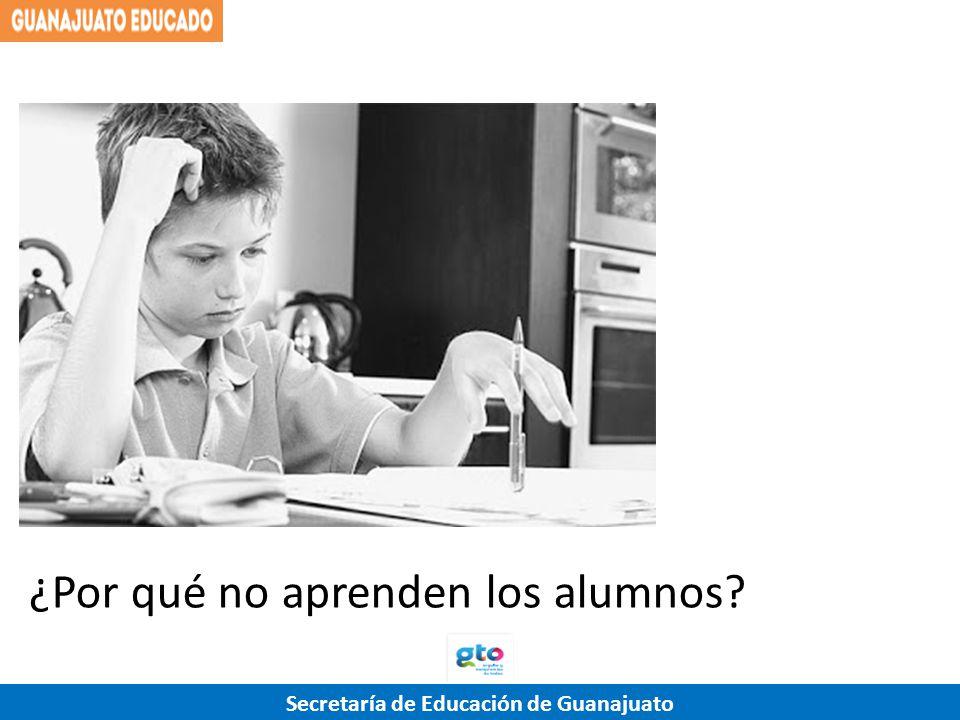 Secretaría de Educación de Guanajuato ¿Por qué no aprenden los alumnos? AlumnoFamiliaAulaEscuela