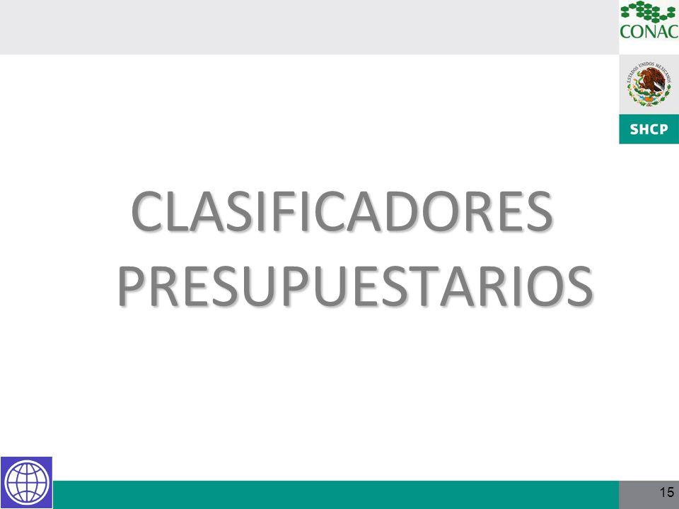 15 CLASIFICADORES PRESUPUESTARIOS
