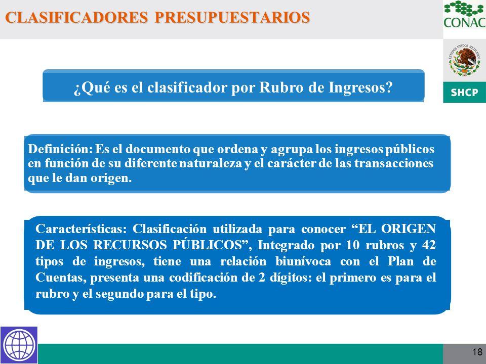 18 CLASIFICADORES PRESUPUESTARIOS Características: Clasificación utilizada para conocer EL ORIGEN DE LOS RECURSOS PÚBLICOS, Integrado por 10 rubros y
