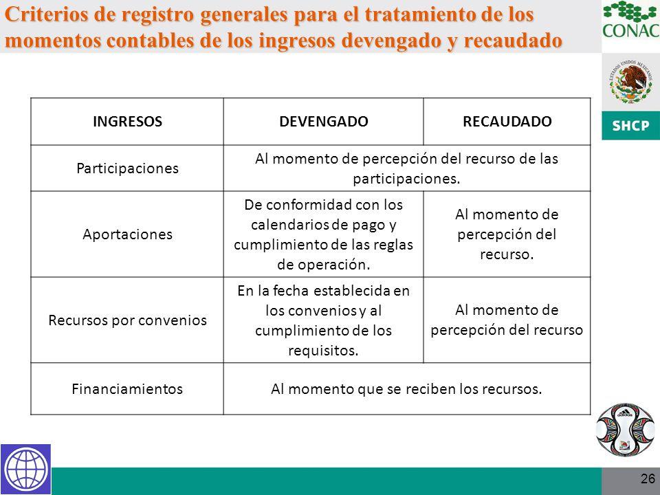 26 Criterios de registro generales para el tratamiento de los momentos contables de los ingresos devengado y recaudado INGRESOSDEVENGADORECAUDADO Part