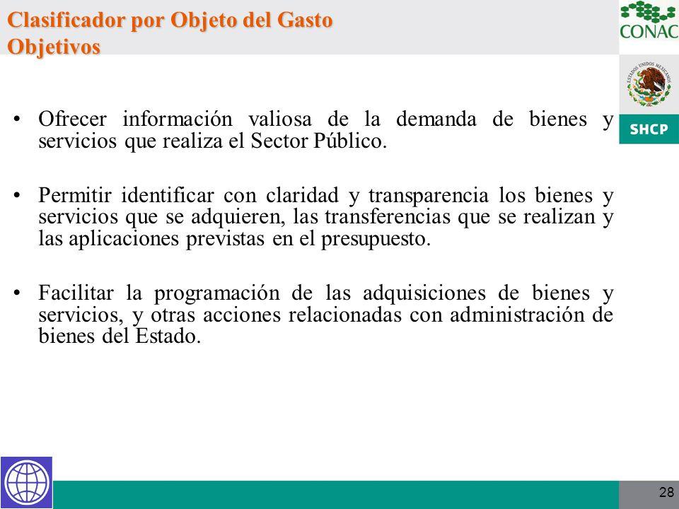 Clasificador por Objeto del Gasto Objetivos Ofrecer información valiosa de la demanda de bienes y servicios que realiza el Sector Público. Permitir id