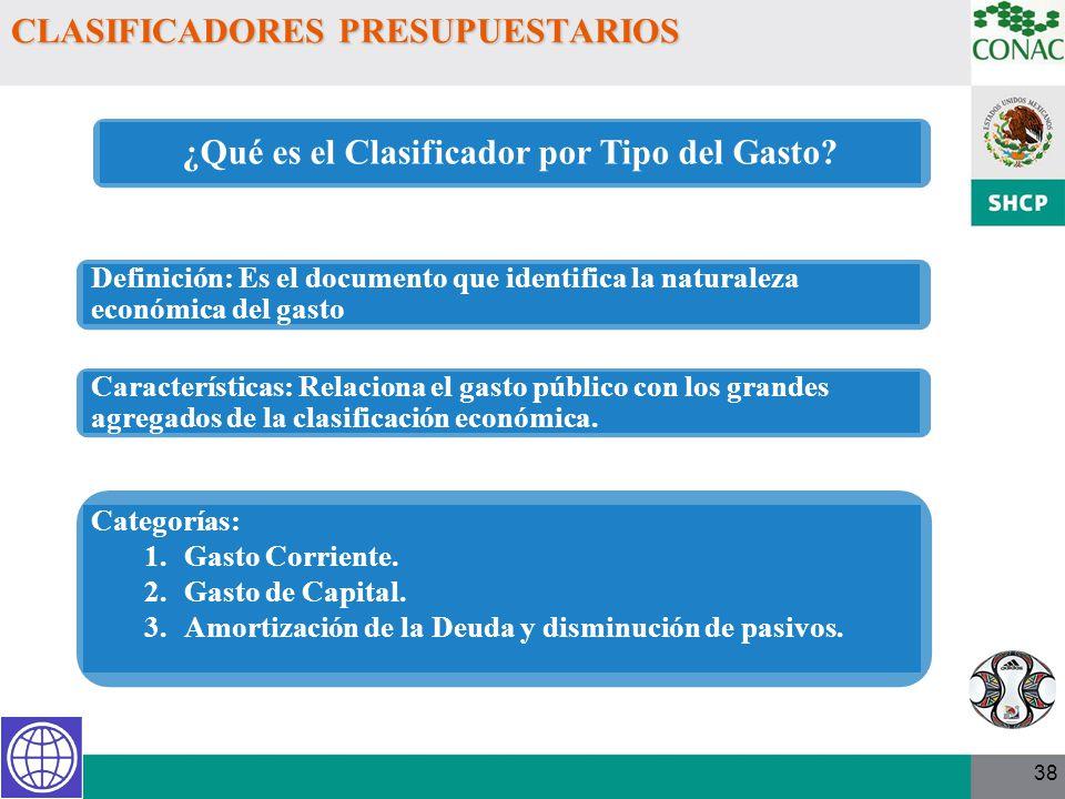 38 CLASIFICADORES PRESUPUESTARIOS ¿Qué es el Clasificador por Tipo del Gasto? Definición: Es el documento que identifica la naturaleza económica del g