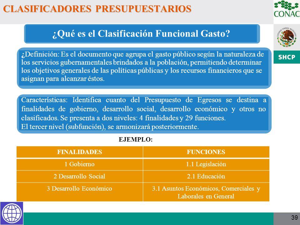 39 CLASIFICADORES PRESUPUESTARIOS EJEMPLO: FINALIDADESFUNCIONES 1 Gobierno1.1 Legislación 2 Desarrollo Social2.1 Educación 3 Desarrollo Económico3.1 A