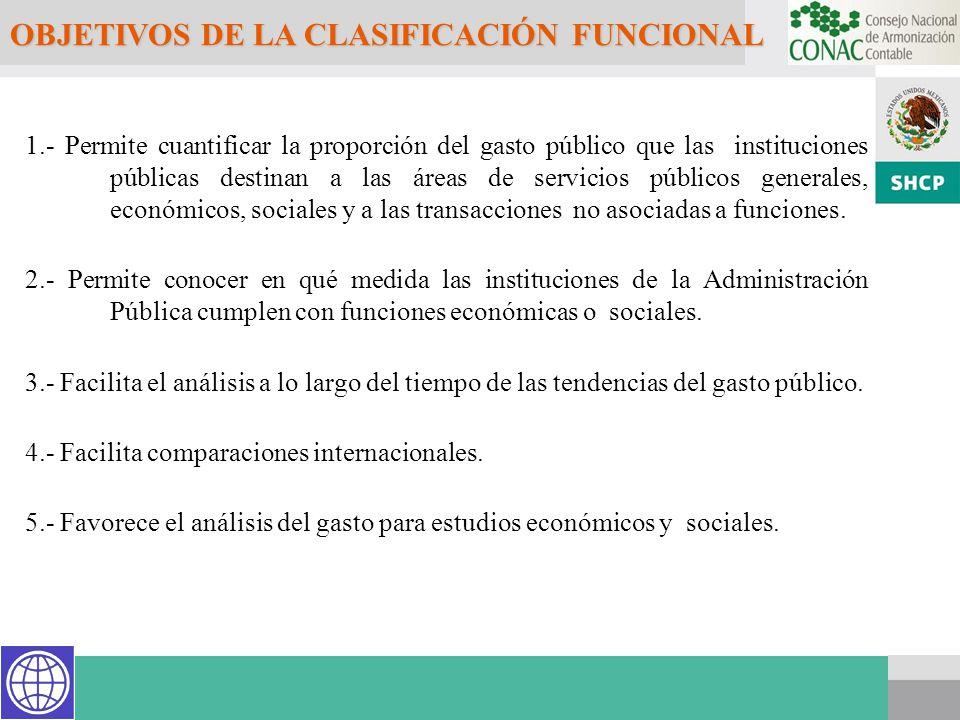 OBJETIVOS DE LA CLASIFICACIÓN FUNCIONAL 1.- Permite cuantificar la proporción del gasto público que las instituciones públicas destinan a las áreas de