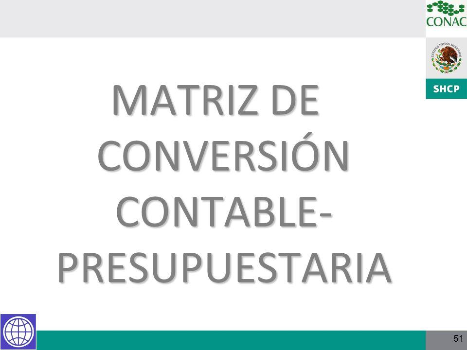 51 MATRIZ DE CONVERSIÓN CONTABLE- PRESUPUESTARIA
