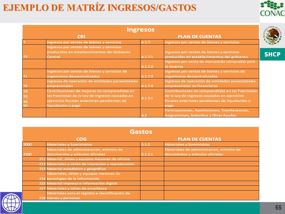 55 EJEMPLO DE MATRÍZ INGRESOS/GASTOS