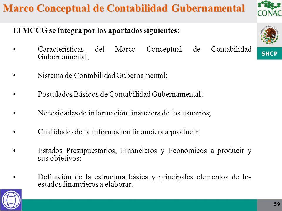 59 Marco Conceptual de Contabilidad Gubernamental El MCCG se integra por los apartados siguientes: Características del Marco Conceptual de Contabilida