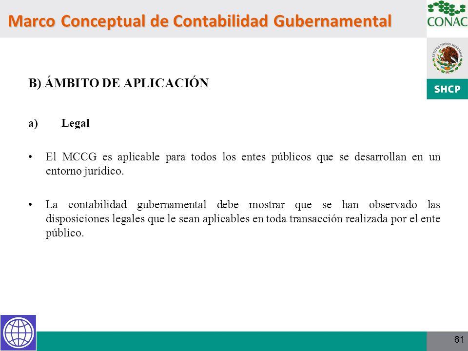 61 Marco Conceptual de Contabilidad Gubernamental B) ÁMBITO DE APLICACIÓN a) Legal El MCCG es aplicable para todos los entes públicos que se desarroll