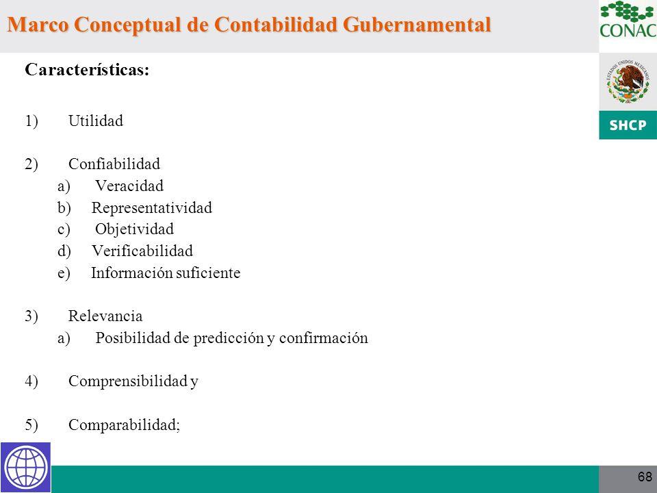68 Marco Conceptual de Contabilidad Gubernamental Características: 1)Utilidad 2)Confiabilidad a) Veracidad b) Representatividad c) Objetividad d) Veri