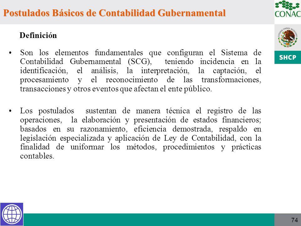 74 Son los elementos fundamentales que configuran el Sistema de Contabilidad Gubernamental (SCG), teniendo incidencia en la identificación, el análisi