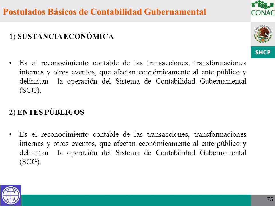 75 1) SUSTANCIA ECONÓMICA Es el reconocimiento contable de las transacciones, transformaciones internas y otros eventos, que afectan económicamente al