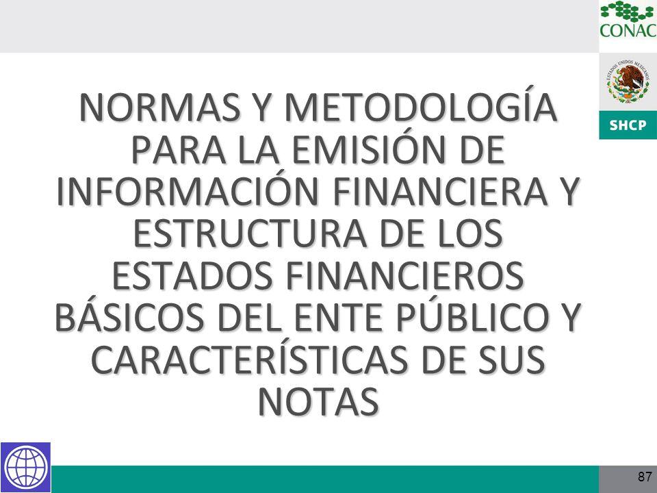 87 NORMAS Y METODOLOGÍA PARA LA EMISIÓN DE INFORMACIÓN FINANCIERA Y ESTRUCTURA DE LOS ESTADOS FINANCIEROS BÁSICOS DEL ENTE PÚBLICO Y CARACTERÍSTICAS D