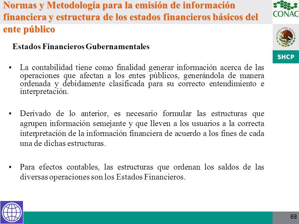 88 Normas y Metodología para la emisión de información financiera y estructura de los estados financieros básicos del ente público La contabilidad tie