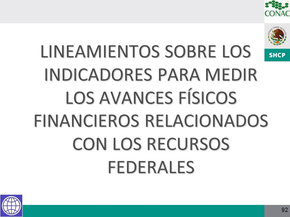 92 LINEAMIENTOS SOBRE LOS INDICADORES PARA MEDIR LOS AVANCES FÍSICOS FINANCIEROS RELACIONADOS CON LOS RECURSOS FEDERALES