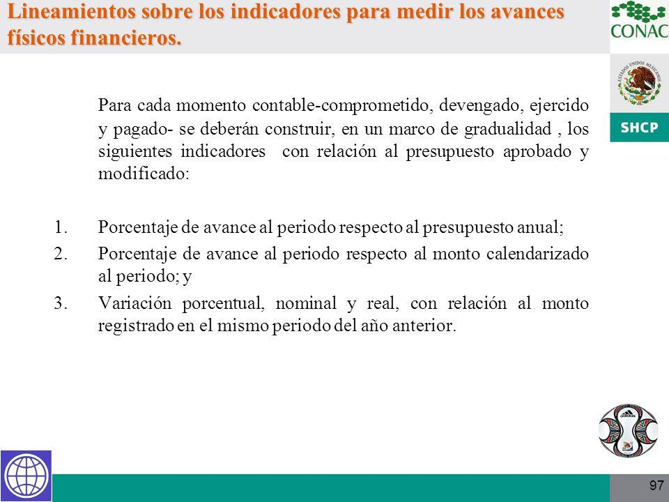 97 Lineamientos sobre los indicadores para medir los avances físicos financieros. Para cada momento contable-comprometido, devengado, ejercido y pagad