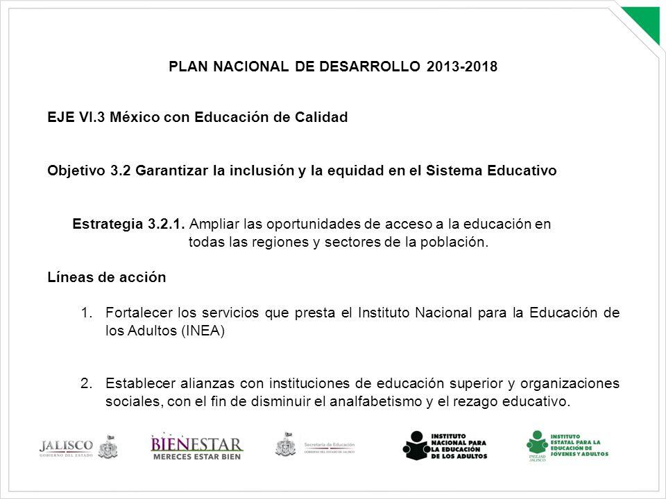 PLAN NACIONAL DE DESARROLLO 2013-2018 EJE VI.3 México con Educación de Calidad Objetivo 3.2 Garantizar la inclusión y la equidad en el Sistema Educati