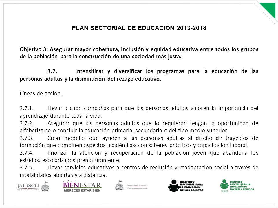 PLAN SECTORIAL DE EDUCACIÓN 2013-2018 Objetivo 3: Asegurar mayor cobertura, inclusión y equidad educativa entre todos los grupos de la población para