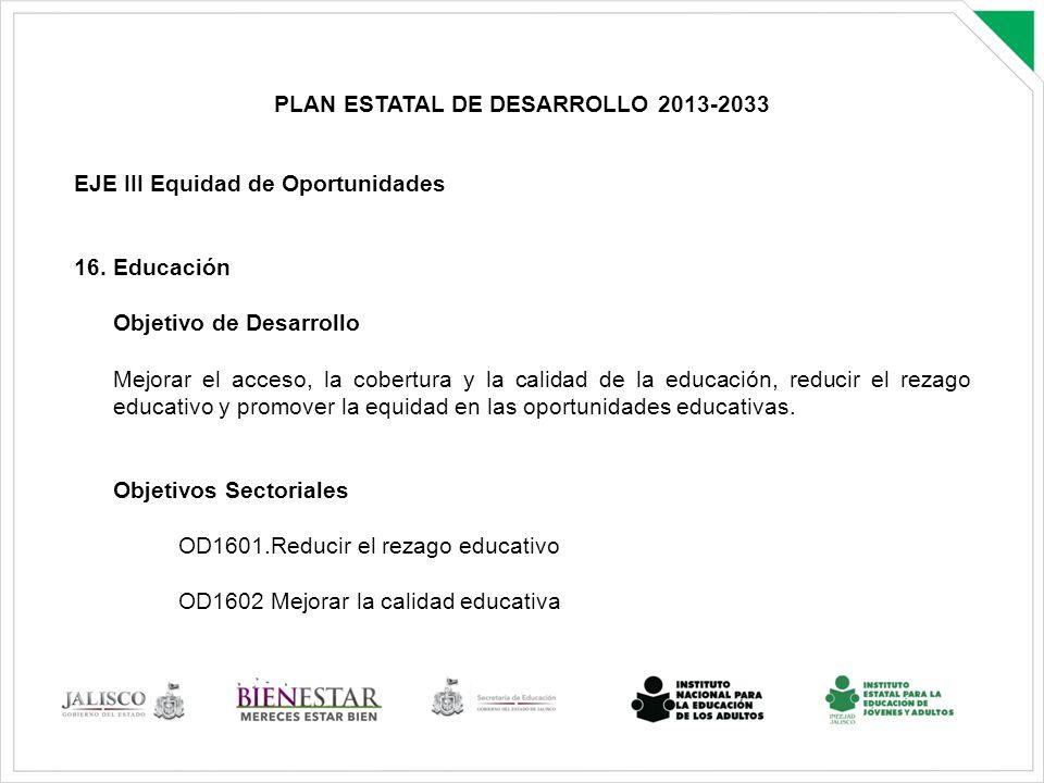 PLAN ESTATAL DE DESARROLLO 2013-2033 EJE III Equidad de Oportunidades 16. Educación Objetivo de Desarrollo Mejorar el acceso, la cobertura y la calida