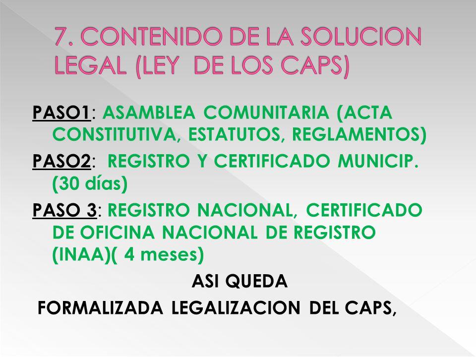 LEGALIZACION AGIL, ECONOMICA, SENCILLA, ADECUADA AL NIVEL ORGANIZACIONAL DE LOS CAPS EXONERACION DE IMPUESTO SOBRE LA RENTA (IR) Exoneración del impuesto valor agregado (iva) TARIFA DE ENERGIA ELECTRICA PREFERENCIAL PARA LODS CAPS SE INSTITUCIONALIZA Y LEGALIZA DERECHO HUMANO DE ACCESO AL AGUA Y SANEAMIENTO A NIVEL DE LAS COMUNIDADES RURALES AUTOGESTIONARIAS, FORTALECIENDO SU INVOLUCRAMIENTO EN LA GOBERNANZA Y GOBERNABILIDAD DE LA GESTION DEL AGUA Y SANEMIENTO