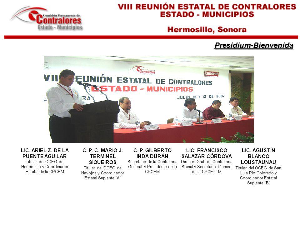 Presidium-Bienvenida LIC.FRANCISCO SALAZAR CÓRDOVA Director Gral.