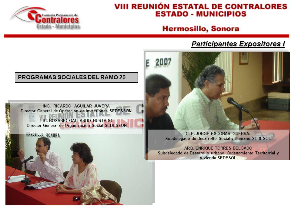 ING.RICARDO AGUILAR JUVERA Director General de Operación de Inversiones SEDESSON LIC.