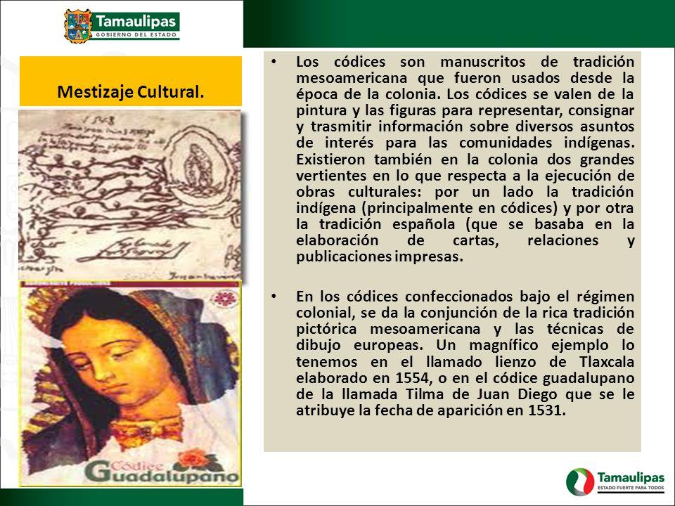 Mestizaje Cultural. Los códices son manuscritos de tradición mesoamericana que fueron usados desde la época de la colonia. Los códices se valen de la
