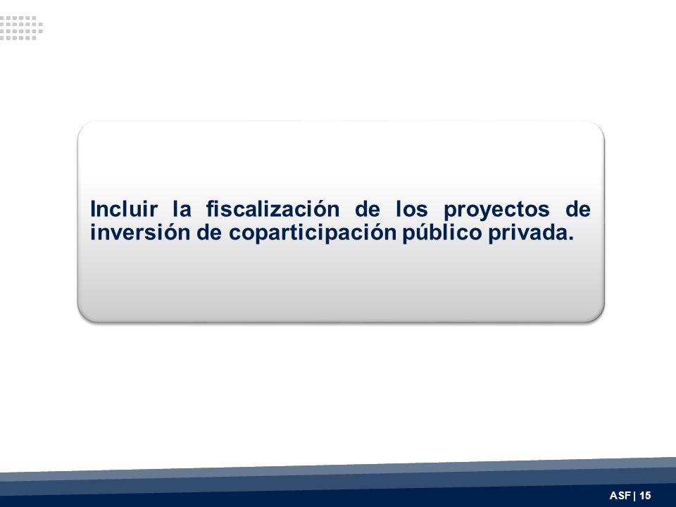 Incluir la fiscalización de los proyectos de inversión de coparticipación público privada. ASF | 15