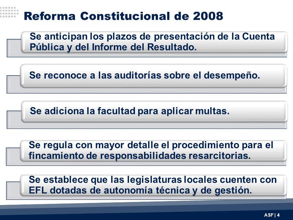 Reforma Constitucional de 2008 ASF | 4 Se anticipan los plazos de presentación de la Cuenta Pública y del Informe del Resultado.