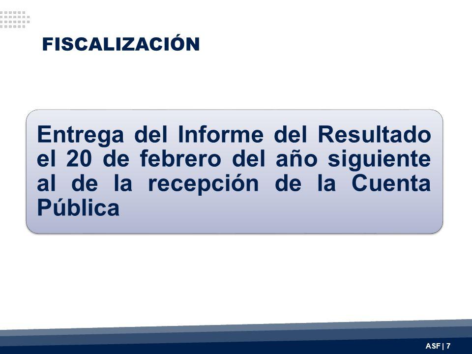 FISCALIZACIÓN Entrega del Informe del Resultado el 20 de febrero del año siguiente al de la recepción de la Cuenta Pública ASF | 7
