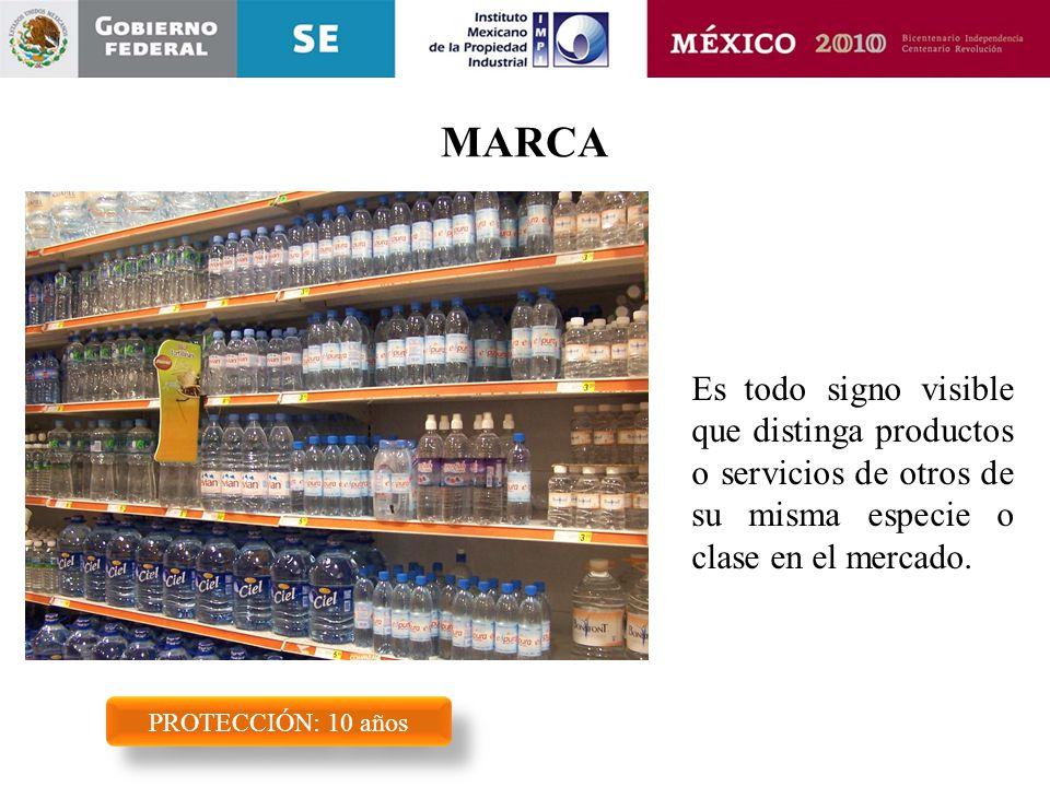 MARCA PROTECCIÓN: 10 años Es todo signo visible que distinga productos o servicios de otros de su misma especie o clase en el mercado.