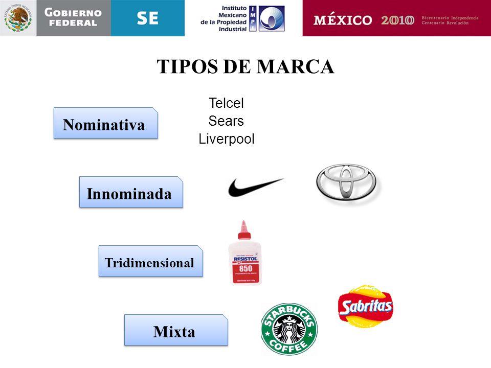 TIPOS DE MARCA Nominativa Innominada Tridimensional Mixta Telcel Sears Liverpool