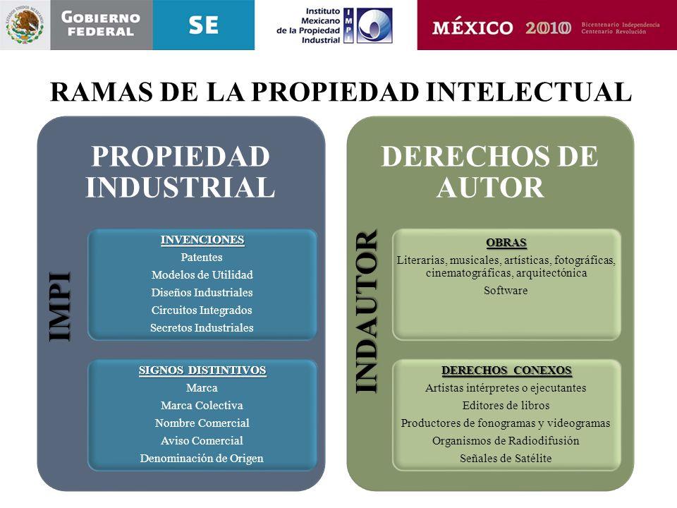 RAMAS DE LA PROPIEDAD INTELECTUAL PROPIEDAD INDUSTRIALINVENCIONES Patentes Modelos de Utilidad Diseños Industriales Circuitos Integrados Secretos Indu