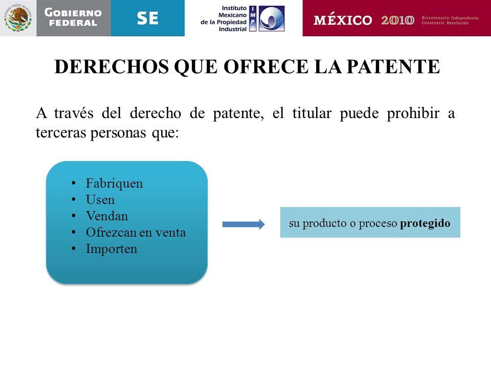 Fabriquen Usen Vendan Ofrezcan en venta Importen Fabriquen Usen Vendan Ofrezcan en venta Importen A través del derecho de patente, el titular puede pr