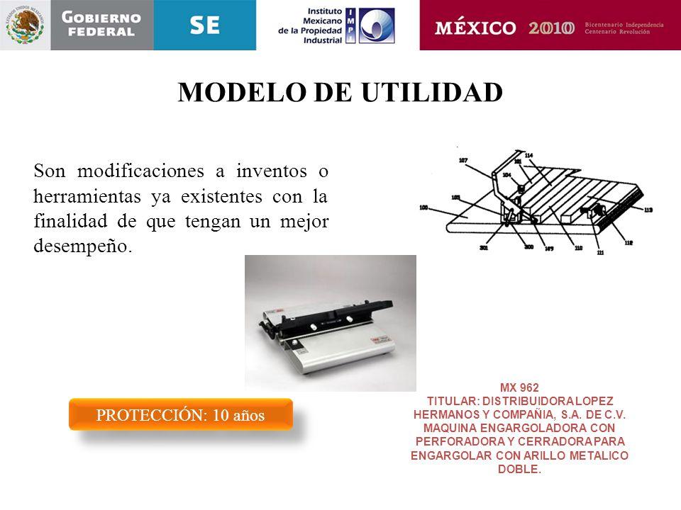 MODELO DE UTILIDAD Son modificaciones a inventos o herramientas ya existentes con la finalidad de que tengan un mejor desempeño. PROTECCIÓN: 10 años M