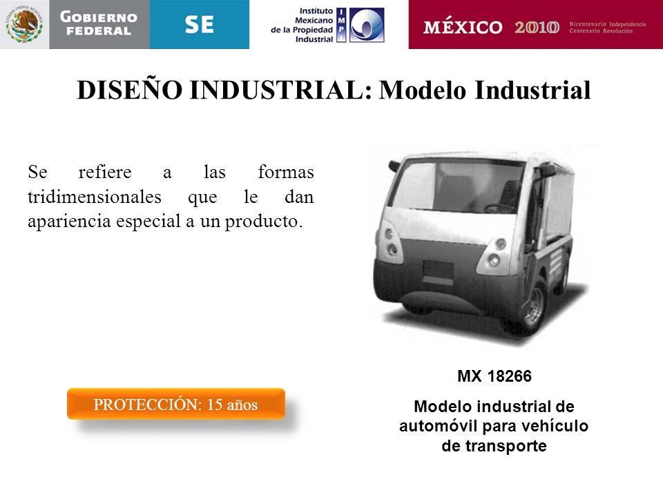 DISEÑO INDUSTRIAL: Modelo Industrial Se refiere a las formas tridimensionales que le dan apariencia especial a un producto. PROTECCIÓN: 15 años MX 182