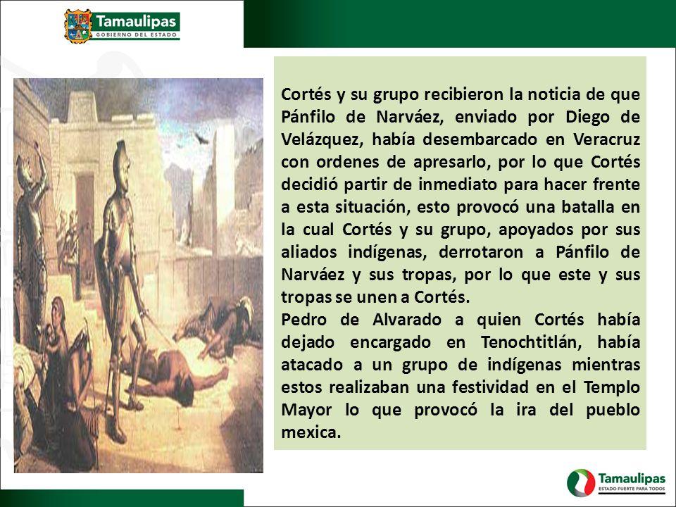 Cortés y su grupo recibieron la noticia de que Pánfilo de Narváez, enviado por Diego de Velázquez, había desembarcado en Veracruz con ordenes de apres