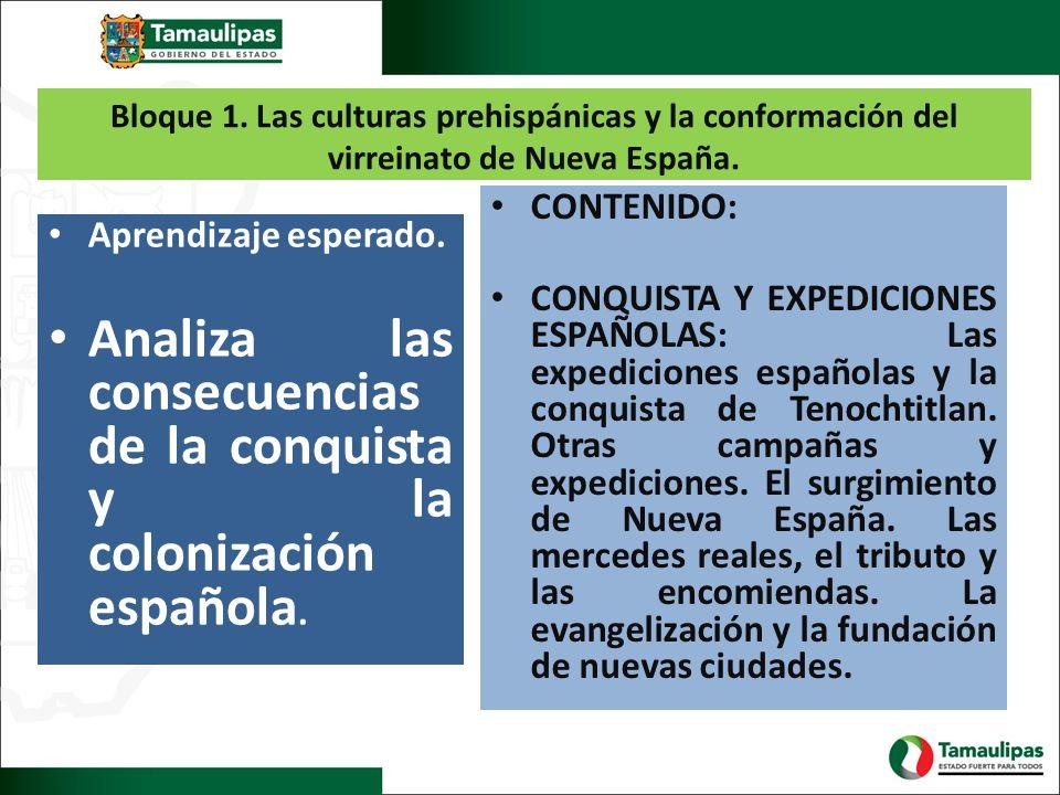 Bloque 1. Las culturas prehispánicas y la conformación del virreinato de Nueva España. Aprendizaje esperado. Analiza las consecuencias de la conquista