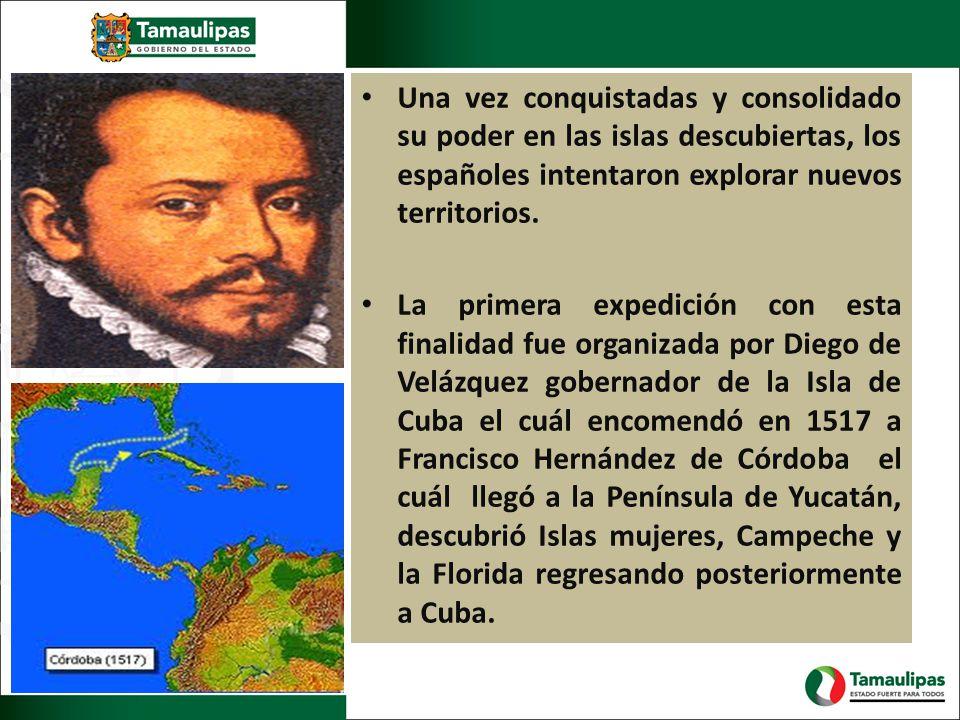 Una vez conquistadas y consolidado su poder en las islas descubiertas, los españoles intentaron explorar nuevos territorios. La primera expedición con
