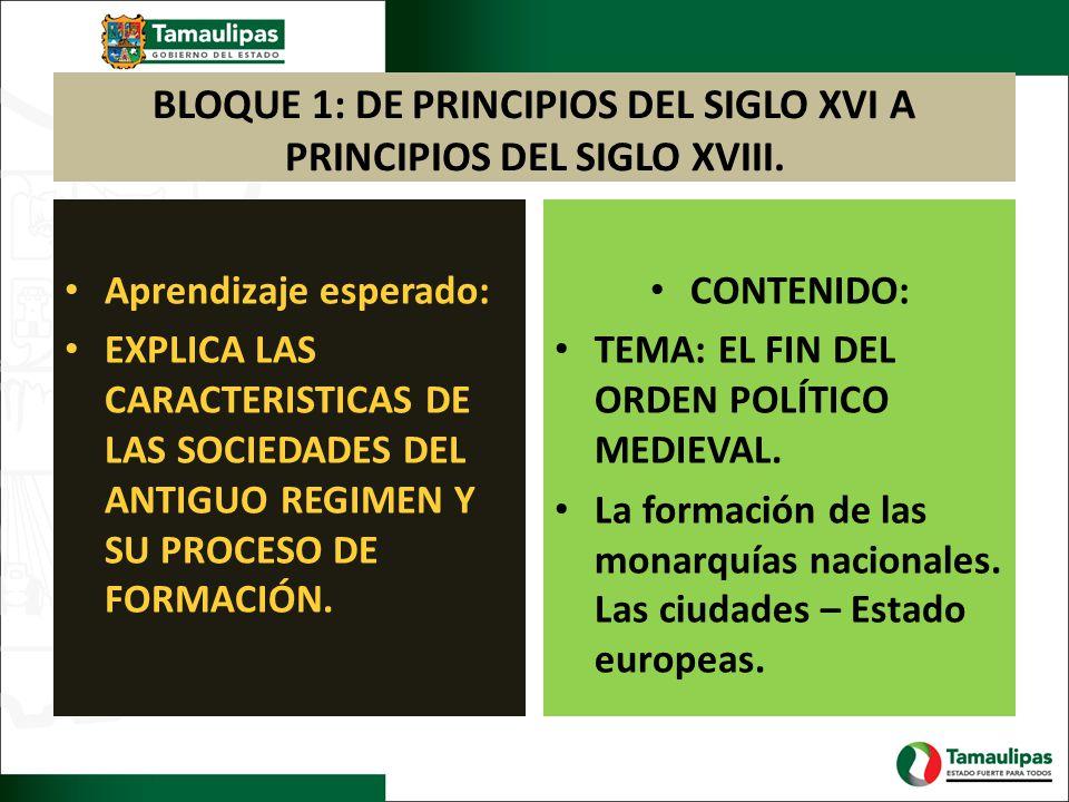 BLOQUE 1: DE PRINCIPIOS DEL SIGLO XVI A PRINCIPIOS DEL SIGLO XVIII. Aprendizaje esperado: EXPLICA LAS CARACTERISTICAS DE LAS SOCIEDADES DEL ANTIGUO RE
