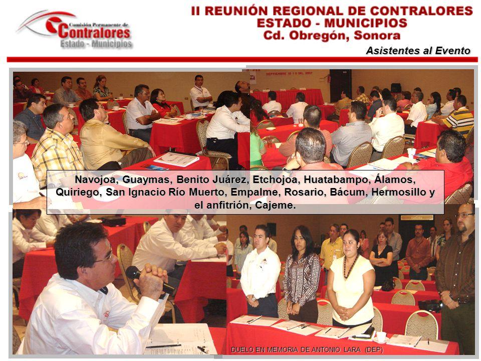 Asistentes al Evento DUELO EN MEMORIA DE ANTONIO LARA (DEP) Navojoa, Guaymas, Benito Juárez, Etchojoa, Huatabampo, Álamos, Quiriego, San Ignacio Río M