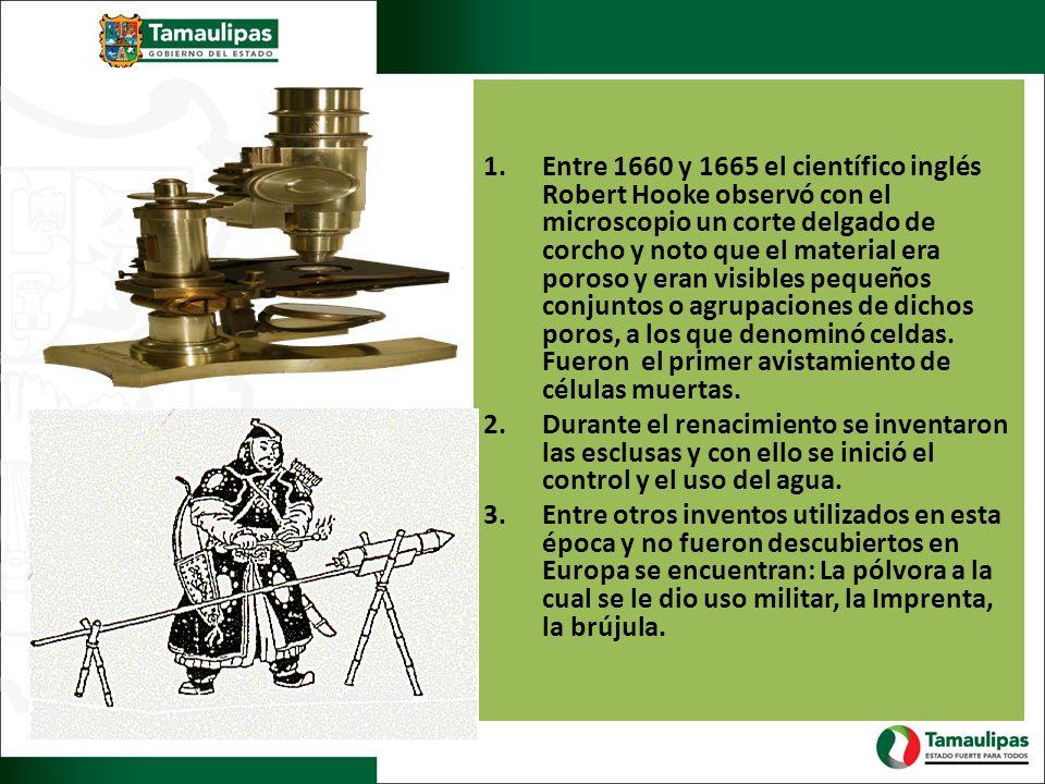 1.Entre 1660 y 1665 el científico inglés Robert Hooke observó con el microscopio un corte delgado de corcho y noto que el material era poroso y eran v