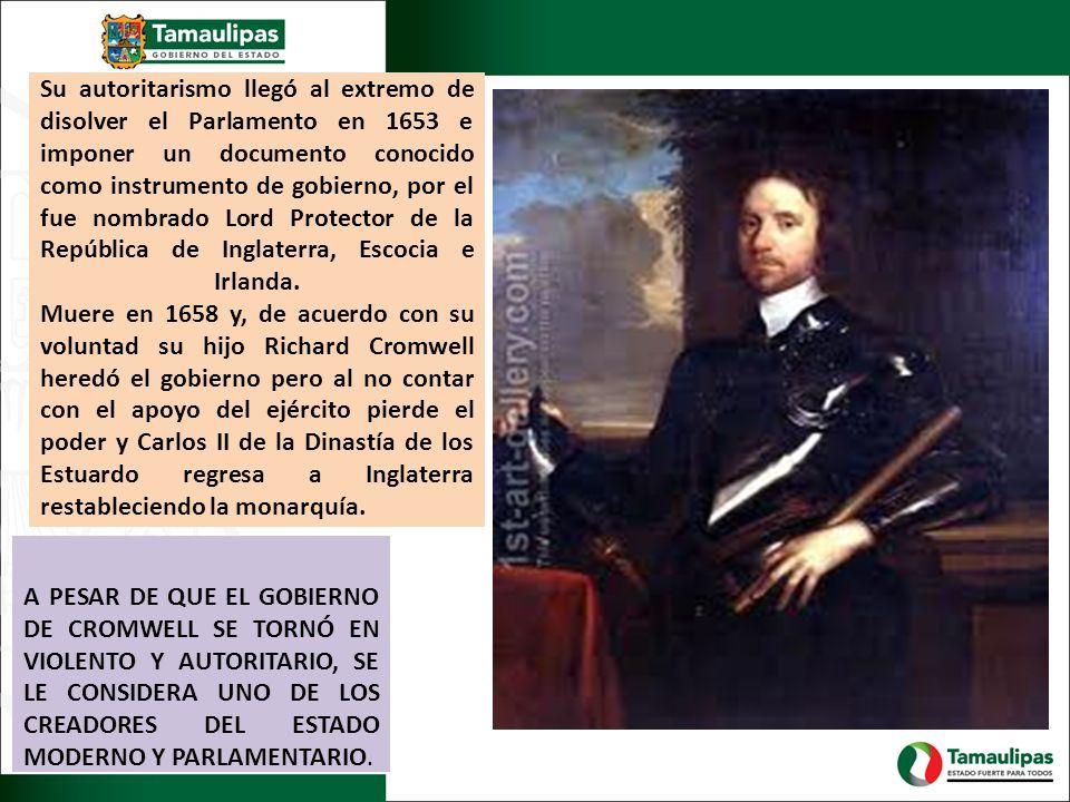 Su autoritarismo llegó al extremo de disolver el Parlamento en 1653 e imponer un documento conocido como instrumento de gobierno, por el fue nombrado