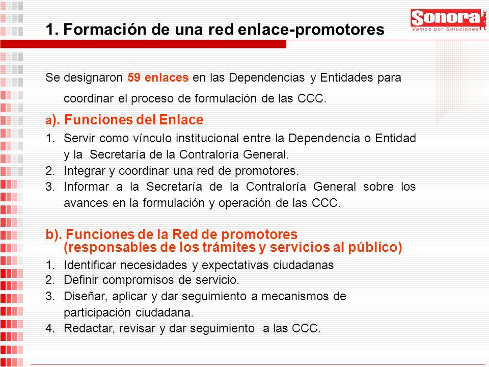 1. Formación de una red enlace-promotores Se designaron 59 enlaces en las Dependencias y Entidades para coordinar el proceso de formulación de las CCC