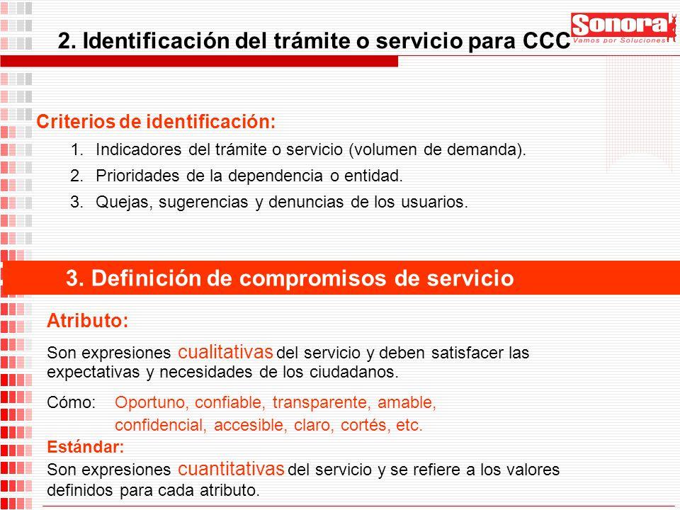 2. Identificación del trámite o servicio para CCC Criterios de identificación: 1.Indicadores del trámite o servicio (volumen de demanda). 2.Prioridade