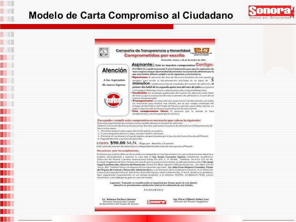 Modelo de Carta Compromiso al Ciudadano