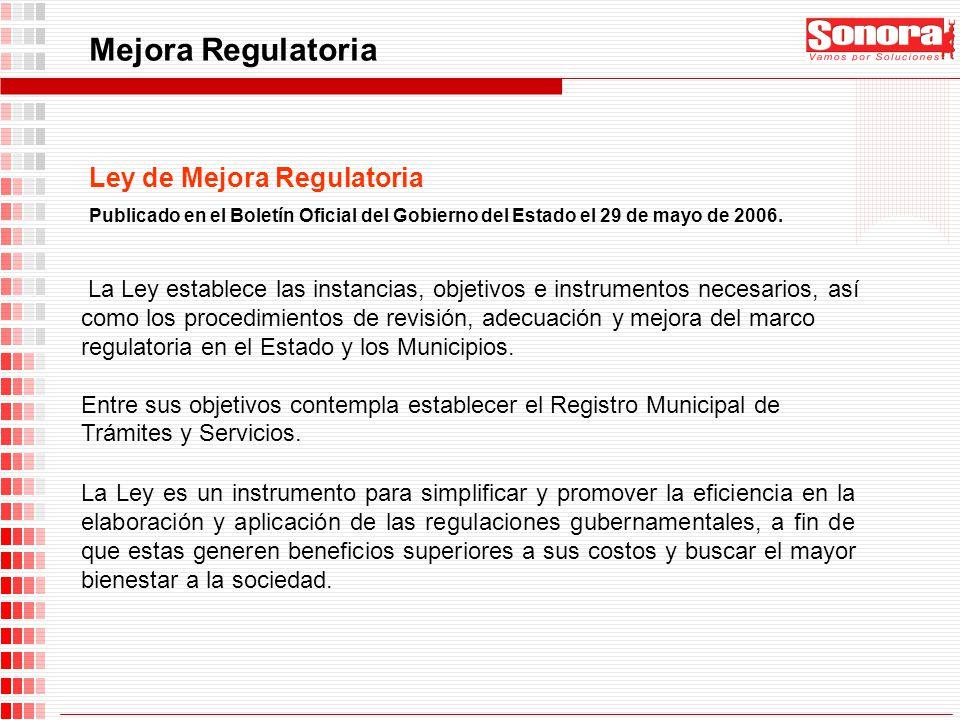Mejora Regulatoria La Ley es un instrumento para simplificar y promover la eficiencia en la elaboración y aplicación de las regulaciones gubernamental