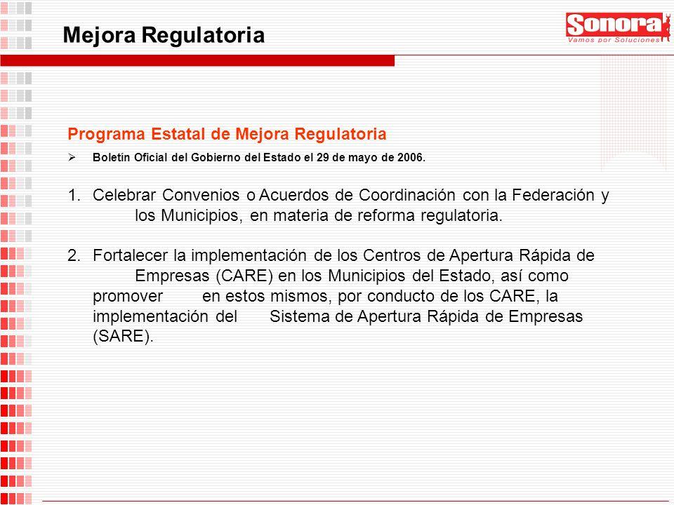 Mejora Regulatoria Programa Estatal de Mejora Regulatoria Boletín Oficial del Gobierno del Estado el 29 de mayo de 2006. 1.Celebrar Convenios o Acuerd