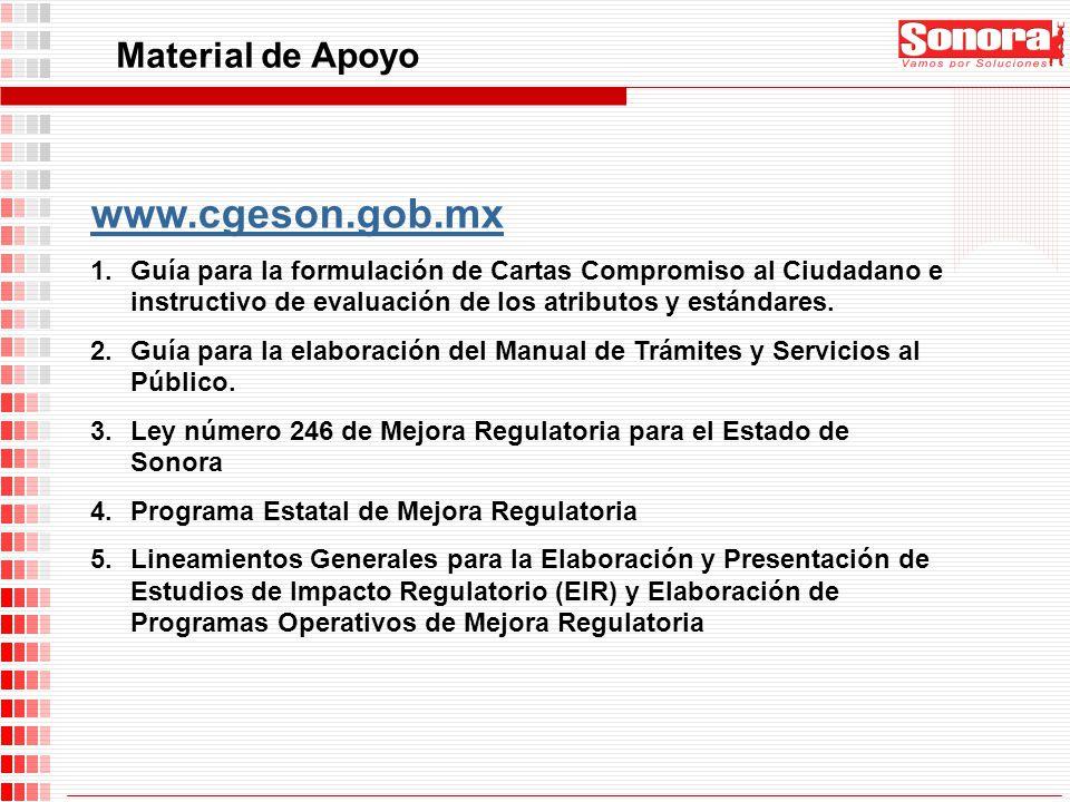 www.cgeson.gob.mx 1.Guía para la formulación de Cartas Compromiso al Ciudadano e instructivo de evaluación de los atributos y estándares. 2.Guía para