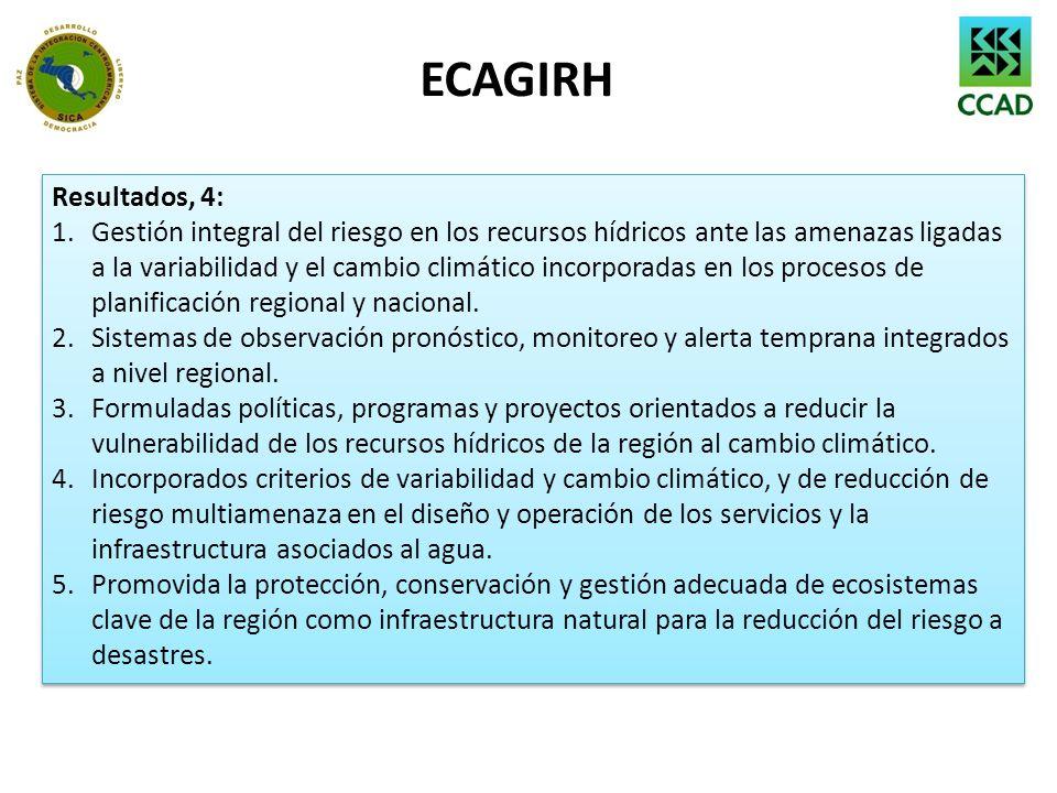 ECAGIRH Resultados, 4: 1.Gestión integral del riesgo en los recursos hídricos ante las amenazas ligadas a la variabilidad y el cambio climático incorp