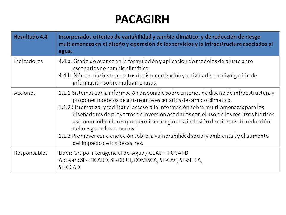 PACAGIRH Resultado 4.4Incorporados criterios de variabilidad y cambio climático, y de reducción de riesgo multiamenaza en el diseño y operación de los